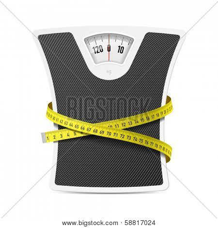Bathroom scale with measuring tape. Vector.