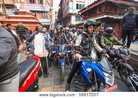 KATHMANDU, NEPAL - DEC 1: Traffic jam in one of a busy street in the city center, Dec 1, 2013 in Kathmandu, Nepal. Kathmandu city is home to more than 1 million people.