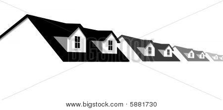 首页符号行的房子与多马屋顶窗口边框