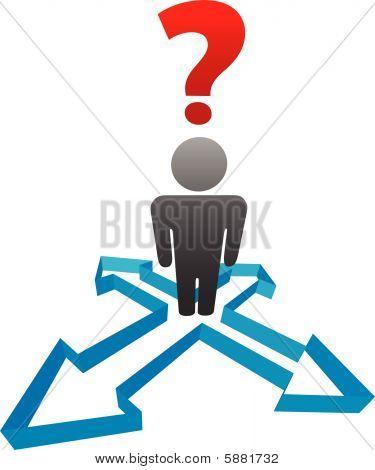 Pregunta persona indecisos en las flechas de dirección de la decisión
