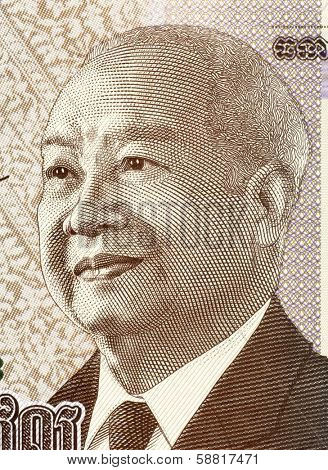 CAMBODIA - CIRCA 2013: Norodom Sihanouk (1922-2012) on 1000 Riels 2013 Banknote from Cambodia. King of Cambodia during 1941-1955 and 1993-2004.