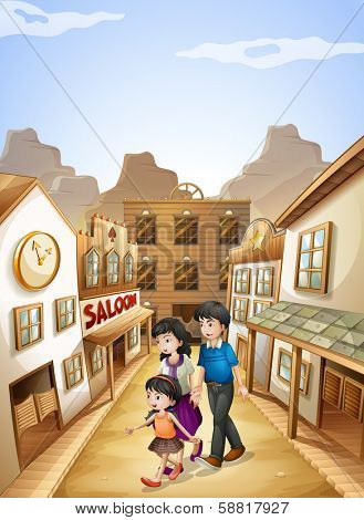 Illustration of a family going to the saloon bar