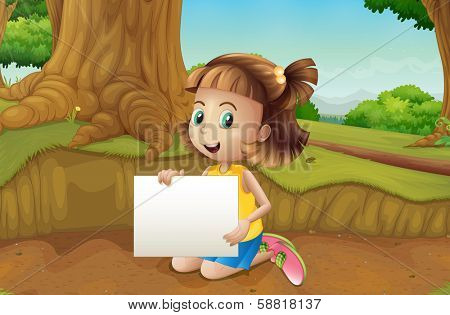Illustration of a smiling girl sitting at the ground holding an empty signage