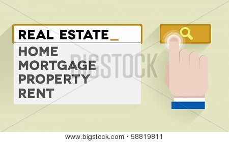 minimalistic illustration of a search bar with real estate keyword and associations, eps10 vector
