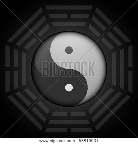 detailed illustration of yin yang symbol with bagua octagon