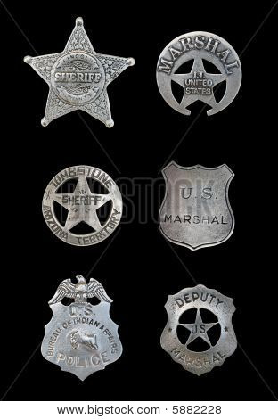 Several Police And Sheriff Badges