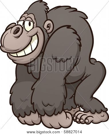 Strong cartoon gorilla. Vector clip art illustration with simple gradients. All in a single layer.