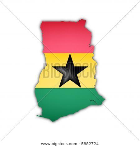 Map And Flag Of Ghana