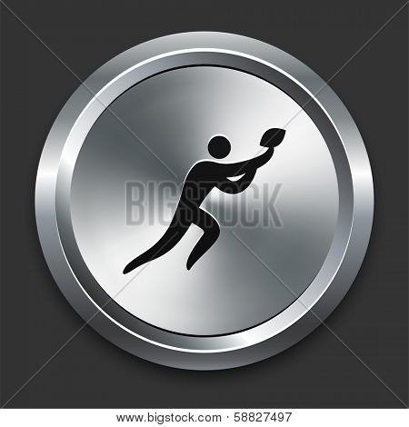 Football Icon on Metallic Button Collection