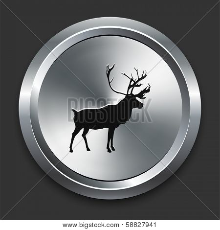 Deer Icon on Metallic Button Collection