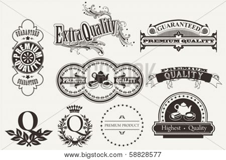 Set of calligraphic and typographic elements, frames, vintage labels. Vector