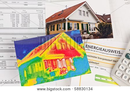 save energy. house with thermal imaging camera photographed