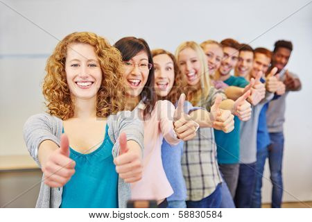 Many teenager in a row holding thumbs up for congratulation