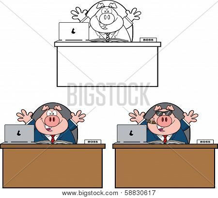 Businessman Pig Cartoon Character 1.  Collection Set