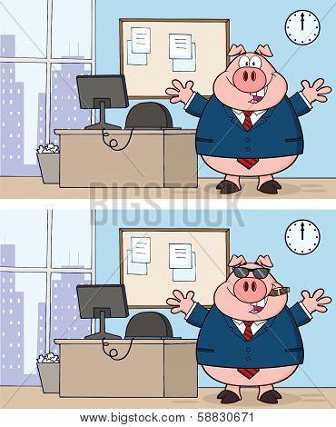 Businessman Pig Cartoon Character 3  Collection Set