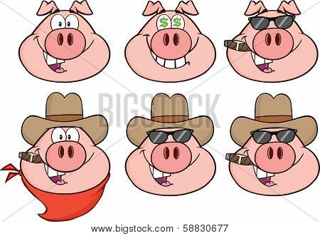 Pig Head Cartoon Characters 3  Collection Set