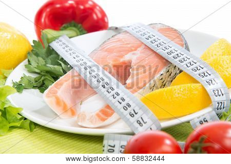 Diet Weight Loss Concept. Fresh Salmon Steak For Lunch