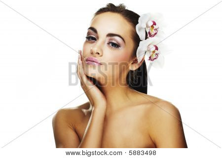 Woman With Bright White Flowers