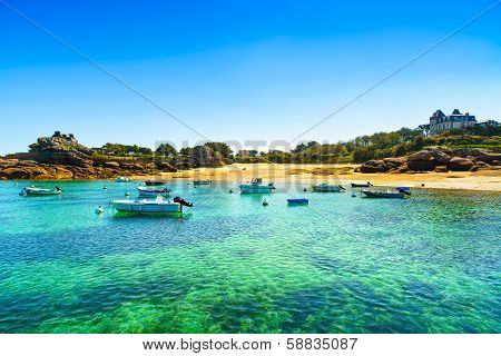 Tregastel, Boats In Beach Bay. Pink Granite Coast, Brittany, France.