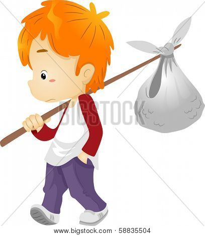 Illustration of a Runaway Boy Carrying a Bindle