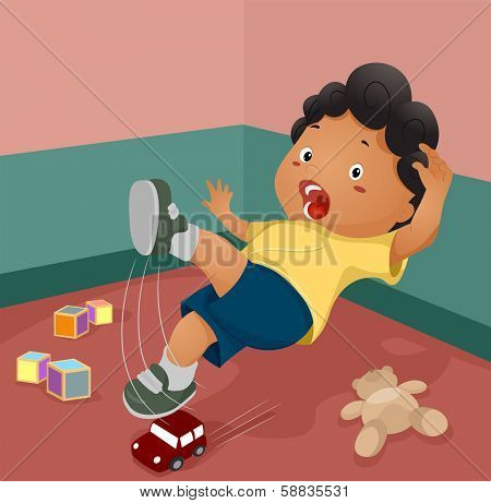 Illustration of a Boy Slipping After Stepping on a Toy
