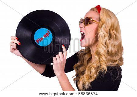 Retro girl and a vinyl