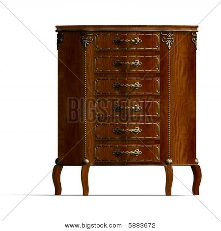 Wooden Commode With Drawers Of Louis Xv.