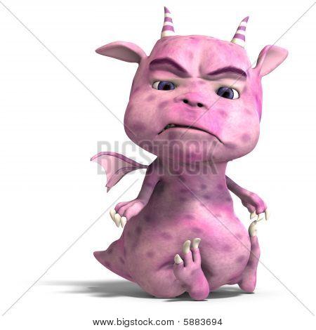 Little Pink Cute Toon Dragon Devil
