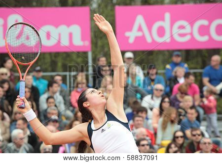 KHARKOV, UKRAINE - APRIL 21, 2012: Christina McHail in the match with Lesya Tsurenko during Fed Cup tie between USA and Ukraine in Superior Golf and Spa Resort, Kharkov, Ukraine