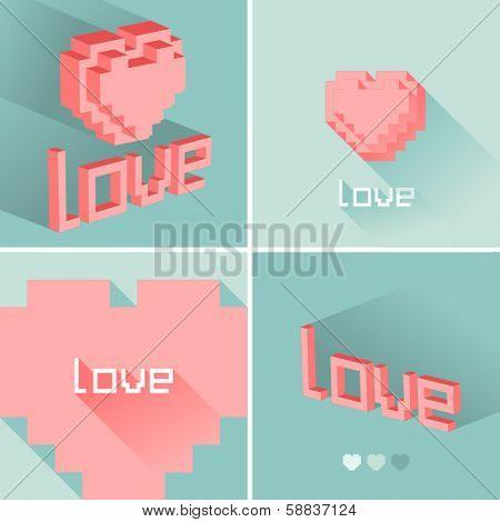 Set of flat design LOVE icons. Vector illustration.
