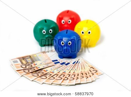 4 piggy bank on white background with  expanded euro notes