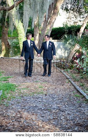 Handsome gay wedding couple walking together on the garden path, symbolizing the walk through life.