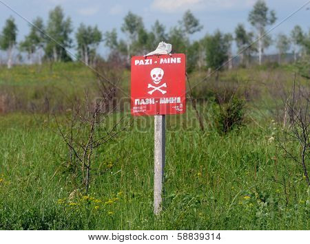 Land mines sign