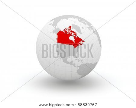 Globe. 3d. Canada. Elements of this image furnished by NASA