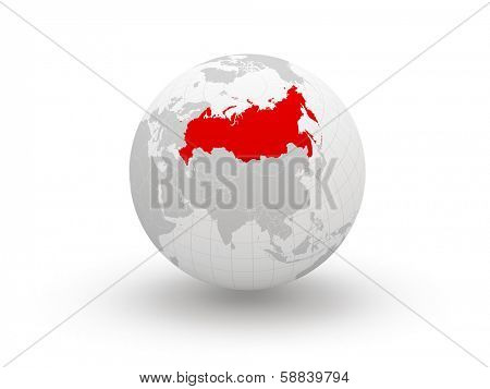 Globe. 3d. Russia. Elements of this image furnished by NASA