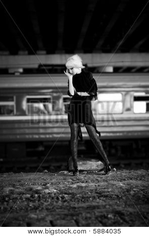 Goth Woman In Industrial Zone