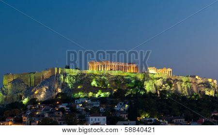 Acropolis Parthenon By Night, Athens, Greece