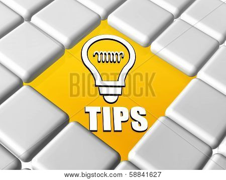 Tips And Bulb Symbol In Boxes