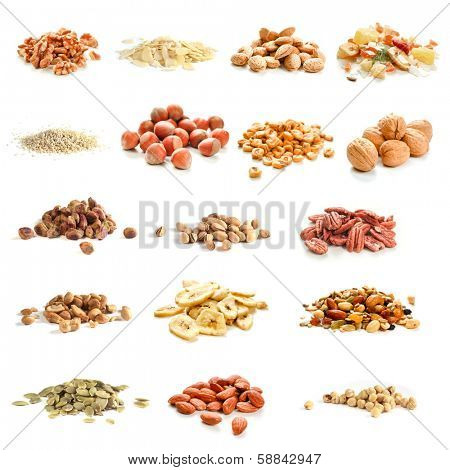Collection of nuts, seeds and dried fruits on white background