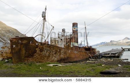 alte Walfang Boot Grytviken, Süd-Georgien