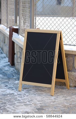Empty menuboard on a street
