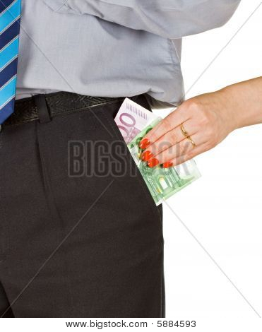 Woman Take Out The Money From The Pocket