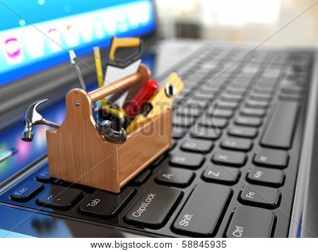 Online support. Toolbox with tools on laptop. 3d