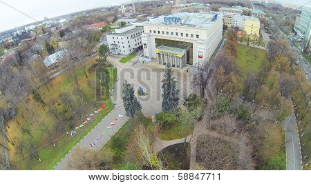 MOSCOW, RUSSIA - OCT 22, 2013: (view from unmanned quadrocopter) Russian State Social University in park. University established by Government of Russian Federation in 1991.