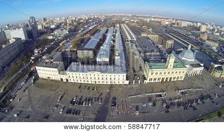 MOSCOW, RUSSIA - NOV 09, 2013: (view from unmanned quadrocopter) Leningradsky railway station. It is oldest railway station in Moscow. Opening date 1849.