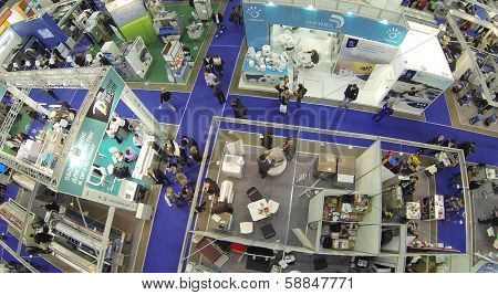 MOSCOW, RUSSIA - NOV 14, 2013: (view from unmanned quadrocopter) People at 15th International Exhibition ExpoClean in Olimpiysky sport complex.