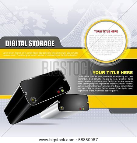 Vector abstract digital background with two hard drives. Can be used for brochures, flyers, ads, posters and other printed materials