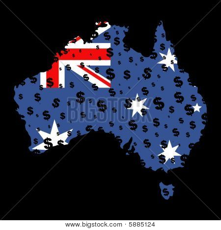 Australia Map Flag Dollar Grunge