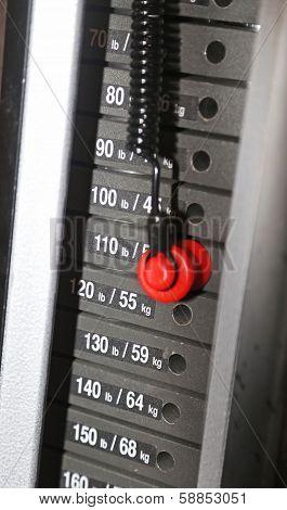 Focus on gym weight machine