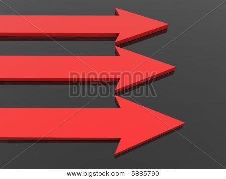 Three Red Arrows On Black